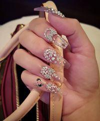 Clear glass nails with Swarovski crystal nail art   Nail ...