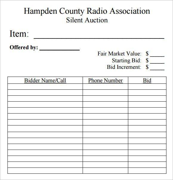Silent+Auction+Bid+Sheet+Template+10+Free+Samples+Examples - sample silent auction bid sheet