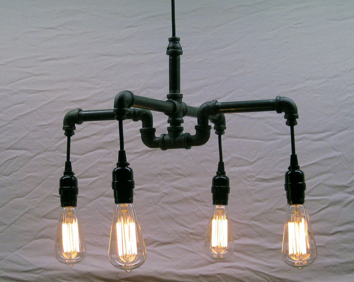 Iron Pipe Light Fixture Industrial Steampunk Black Malleable Iron 4 Bulb