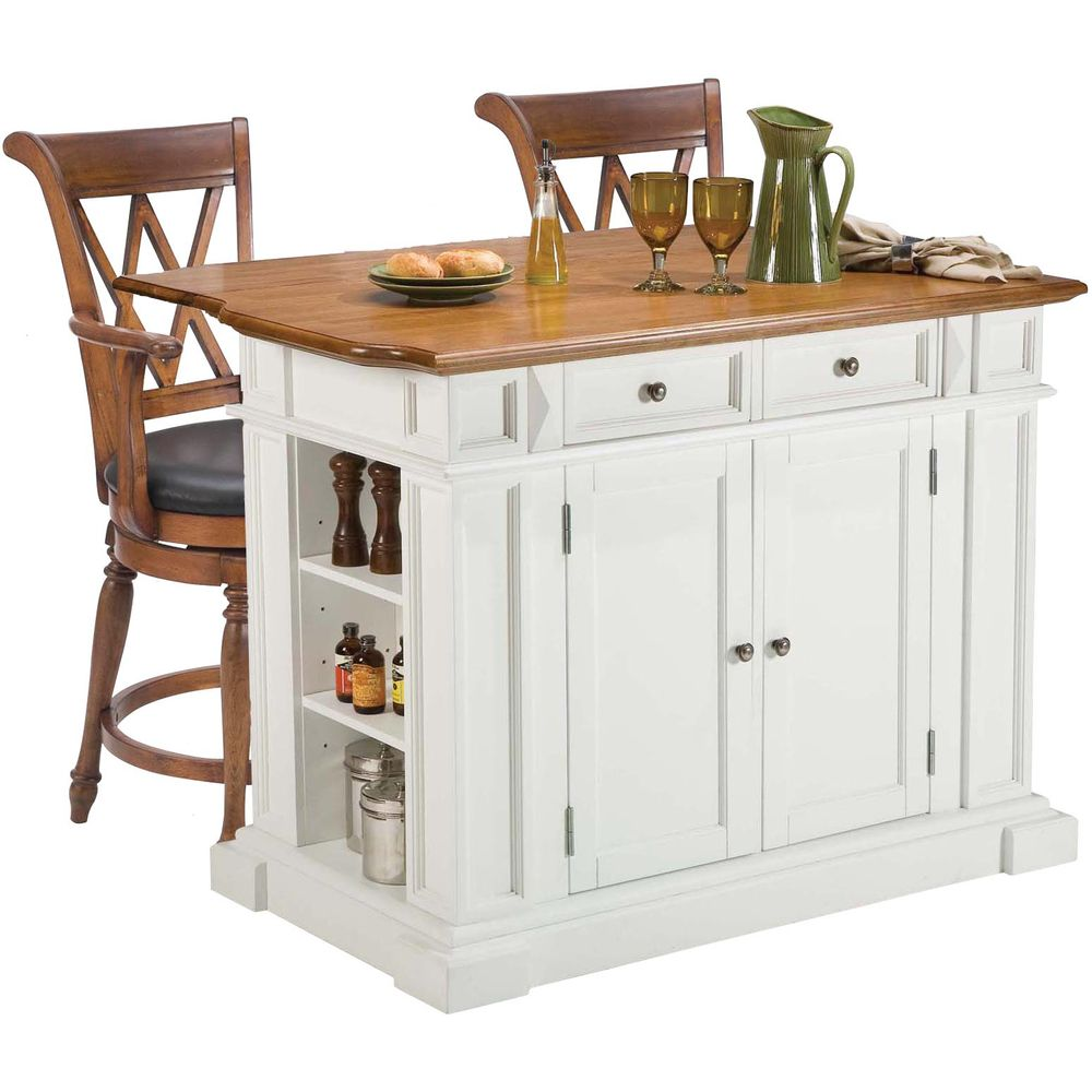 Overstock Kitchen Island Home Styles White/ Oak Kitchen Island And Two Deluxe Bar