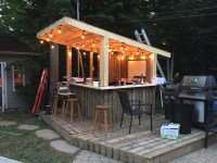 Tiki Bar - Backyard Pool Bar built with old patio wood ...