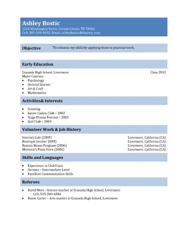 First Resume Template for Teenagers Teen resume sample for 15 - first time resume template