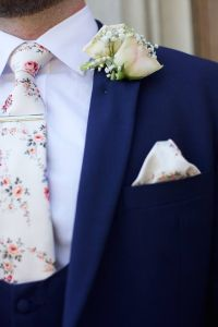ivory vintage floral wedding tie with royal blue slim fit ...
