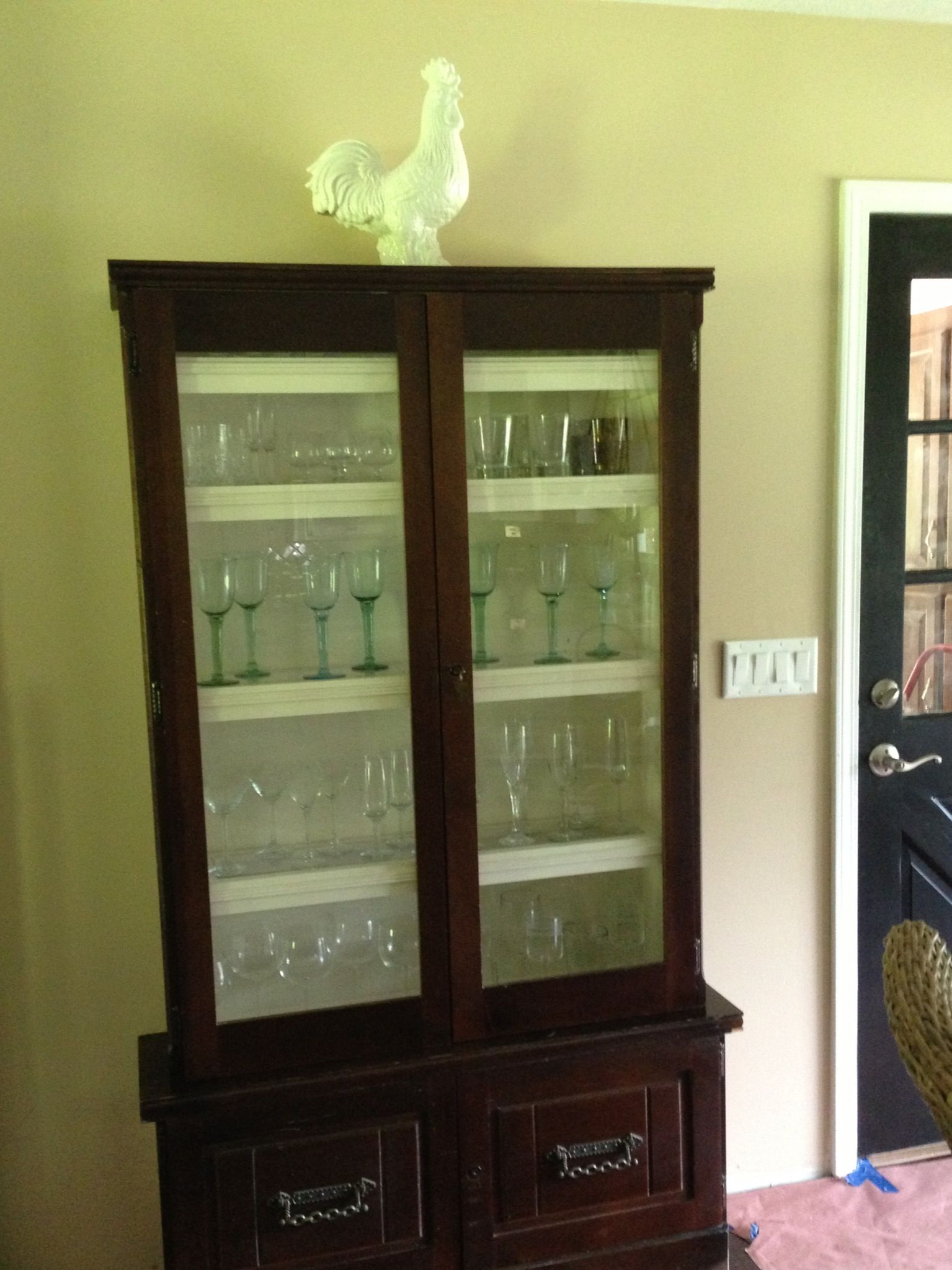 Refurbished gun cabinet into wine glass cabinet! $50 at a