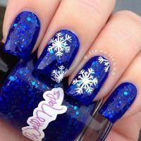 50 Festive Christmas Nail Art Designs | Blue glitter nails ...