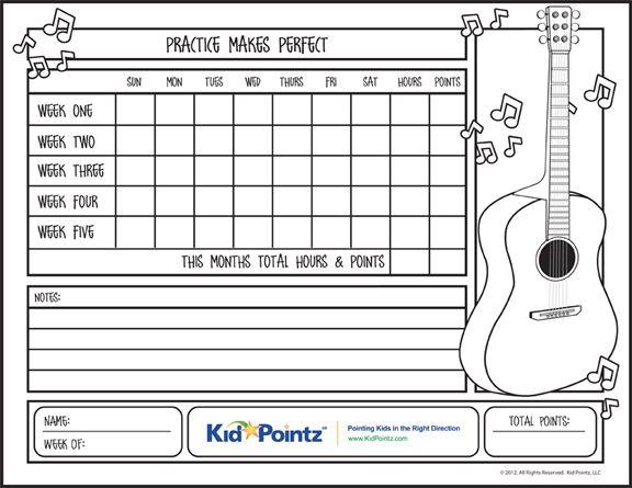 Kids Music Practice Chart Designed for Kid Pointz (KidPointz - music chart