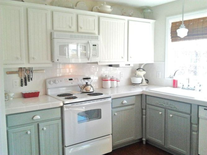 paint kitchen cabinets white Painting Oak Cabinets White and Gray