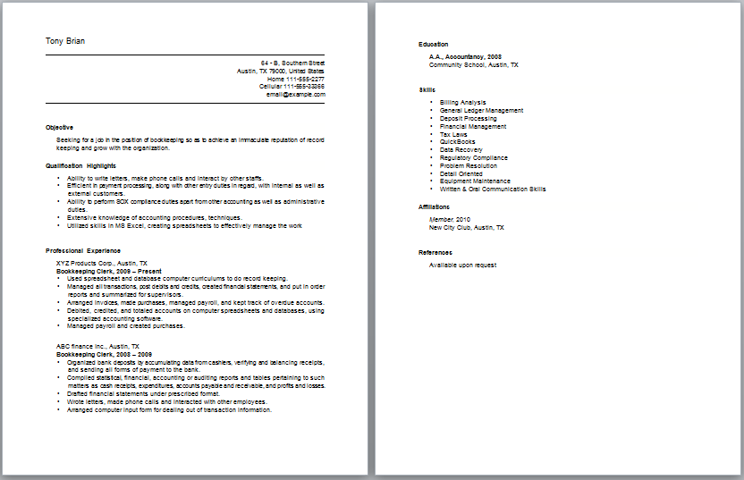Bookkeeper Resume Sample