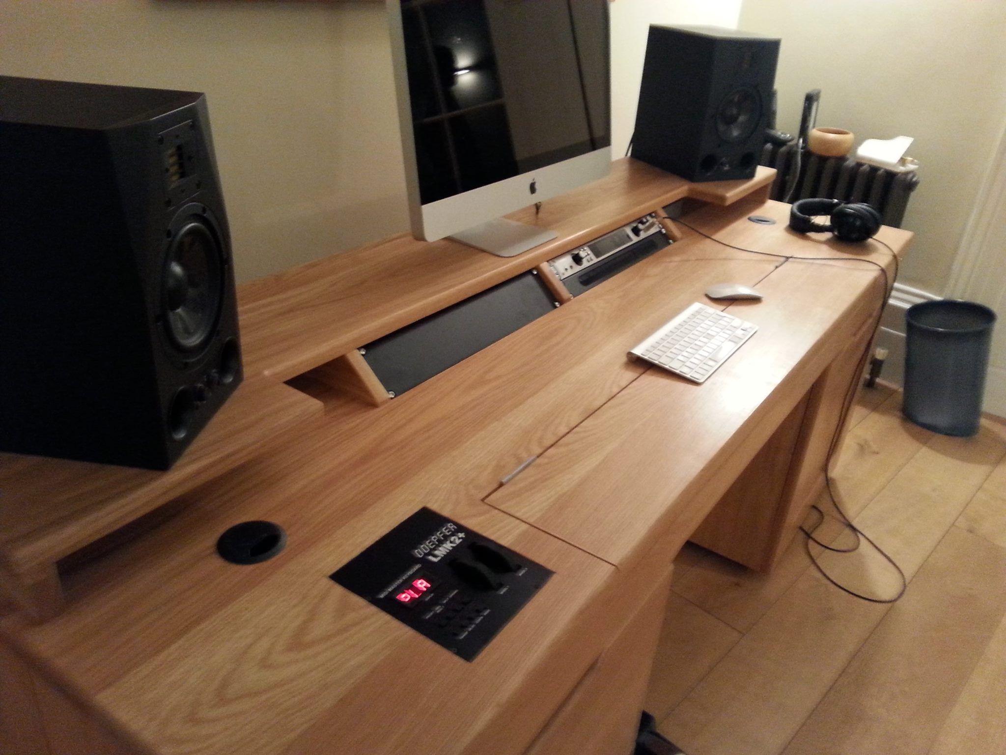 Custom built recording studio desk, built to house Doepfer