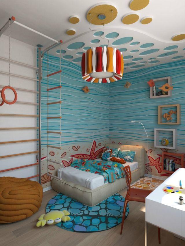 Wandfarbe Kinderzimmer Malerei Unterwasserwelt Blau Kids Home   Kinderzimmer  Junge Blau