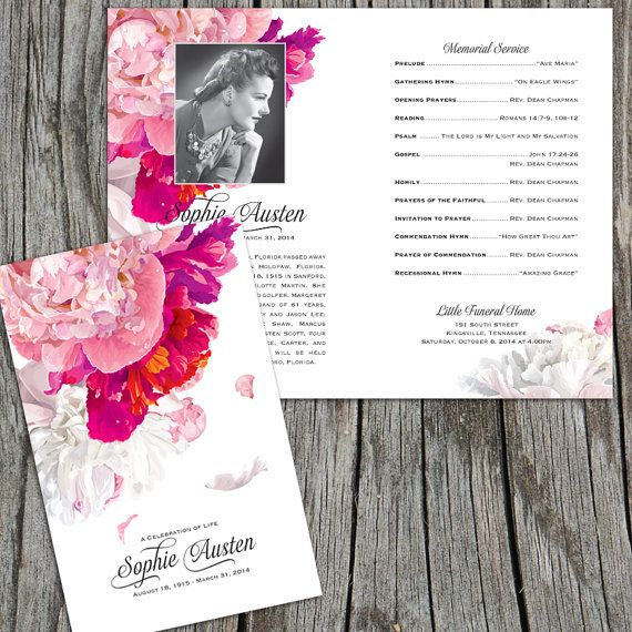 Beautiful Soft Peonies Funeral or Memorial Program - Bulletin - memorial program