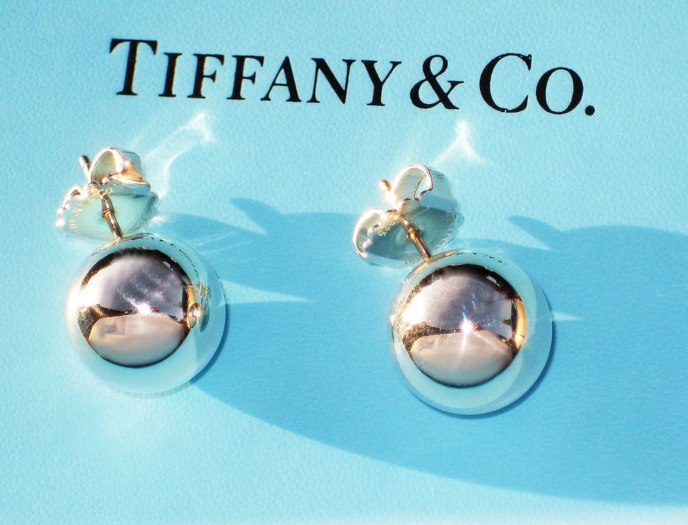 Tiffany & Co Sterling Silver Ball 14MM Bead Earrings