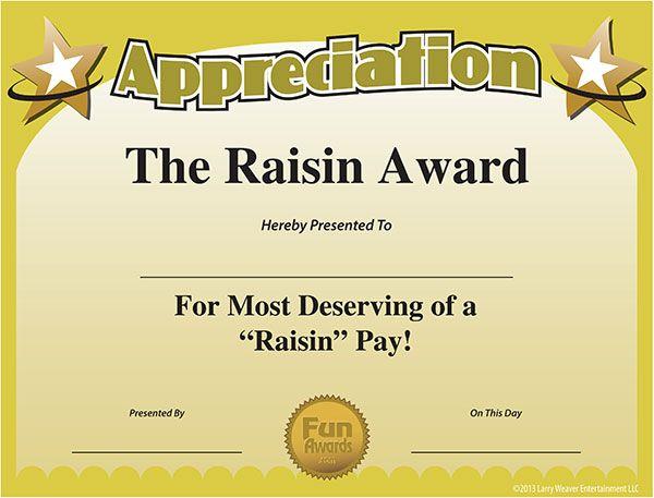 printable Funny work awards Certificate of Appreciation Random - award certificates templates