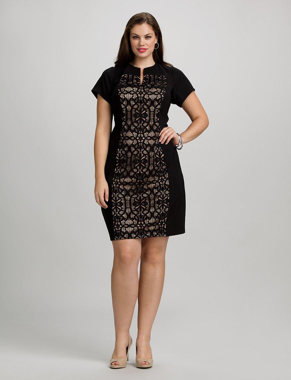 Plus size dresses cocktail dresses plus size lace panel dress dressbarn