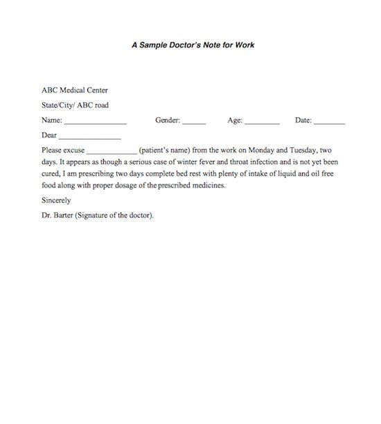 Doctor For Note Work Excuse Letter Doctors Excuse for School - medical note