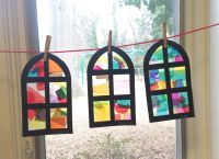 Stain glass church window craft. Used colored tissue paper ...