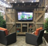 Reclaimed wood rustic outdoor TV cabinet with by ...