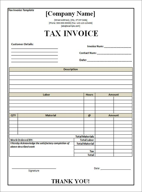 Tax Invoice Template Word 8 Pinterest - photography invoice sample