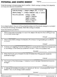 Potential And Kinetic Energy Worksheet Answers: | Projects ...