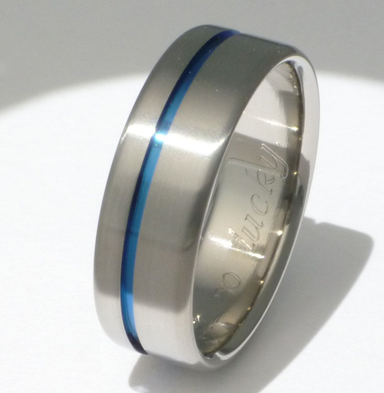 law enforcement wedding bands Blue Titanium Ring Thin Blue Line Titanium Band One Carved Blue Line b2
