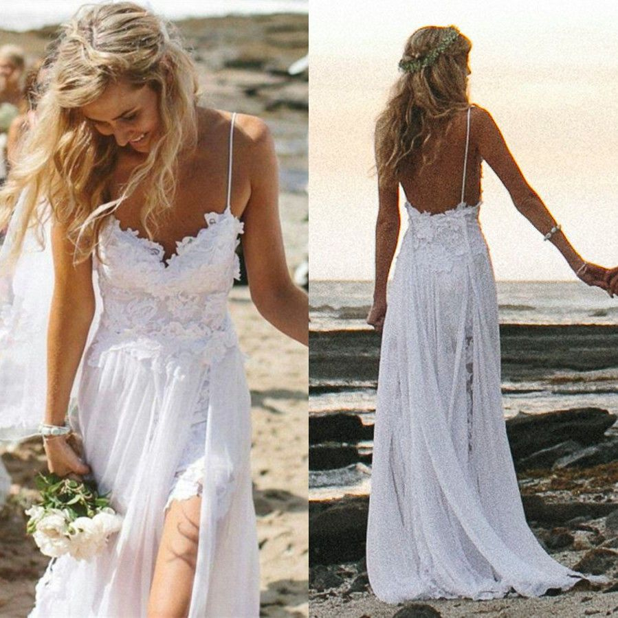 beach dresses for weddings Sexy Fancy Beach Wedding Dresses Spaghetti Backless White Ivory Lace Bridal Gown