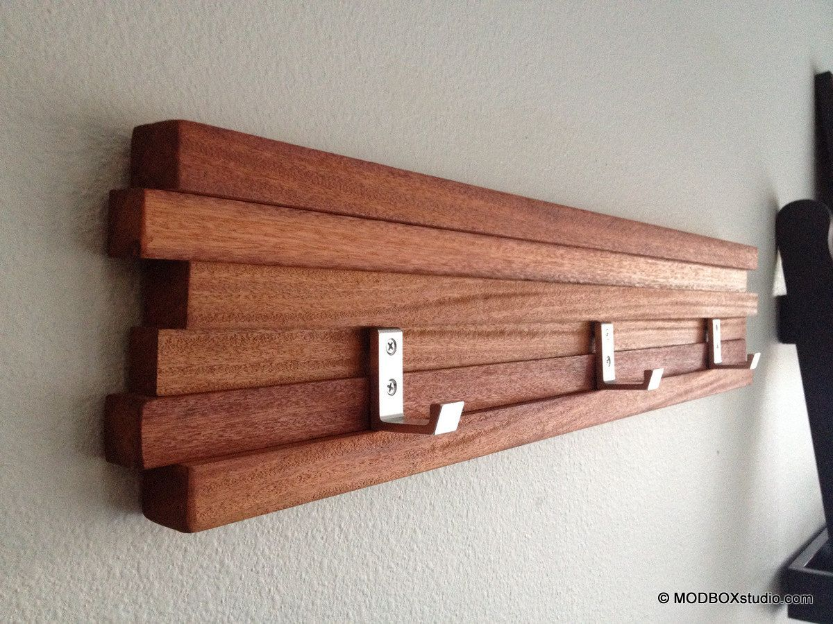 Wooden Hooks Wood Coat Rack 3 Hook Key Hat Minimalist Modern Wall