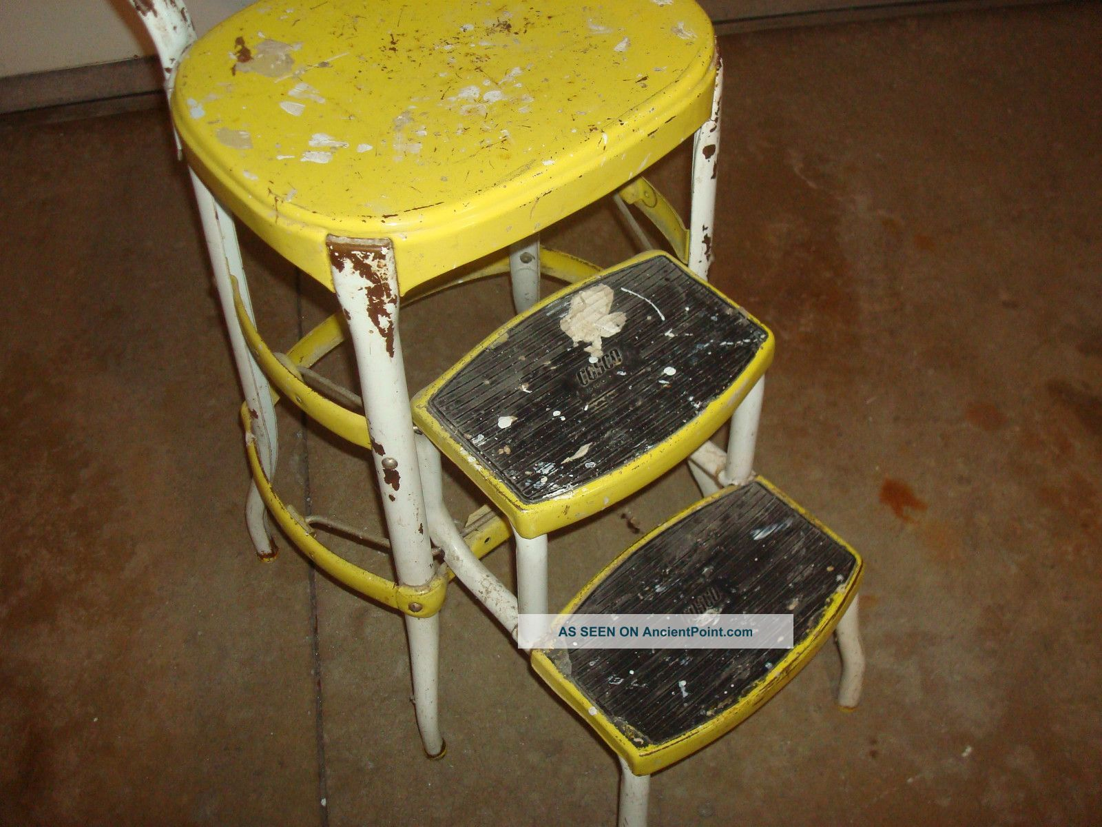 retro kitchen chairs cosco step stools chairs Vintage Retro Yellow Cosco Step Stool Mid Century Kitchen Steel