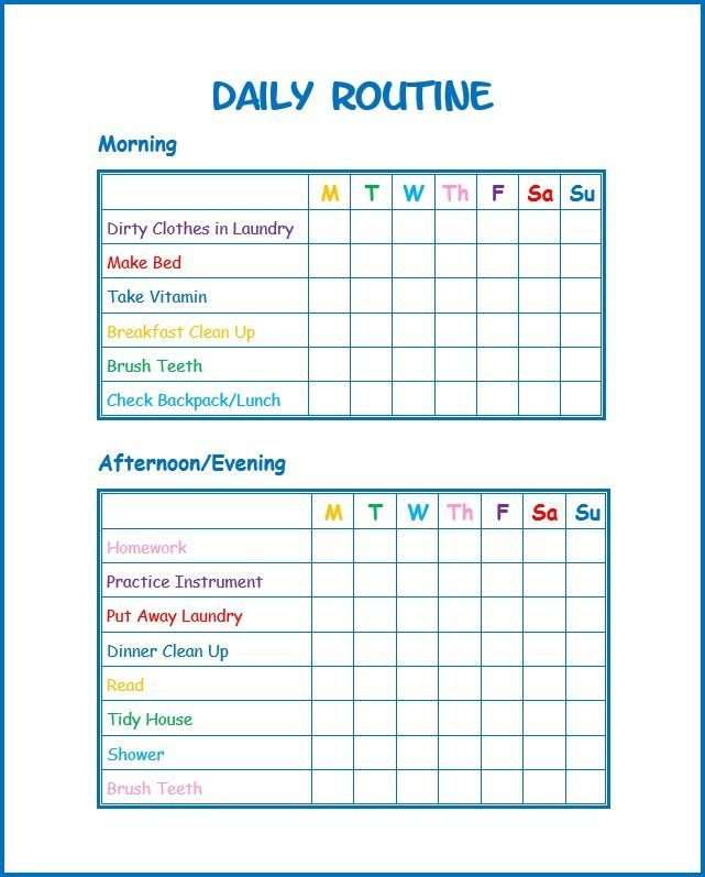 This daily routine printable for kids will help kids stay on task - daily routine chart template