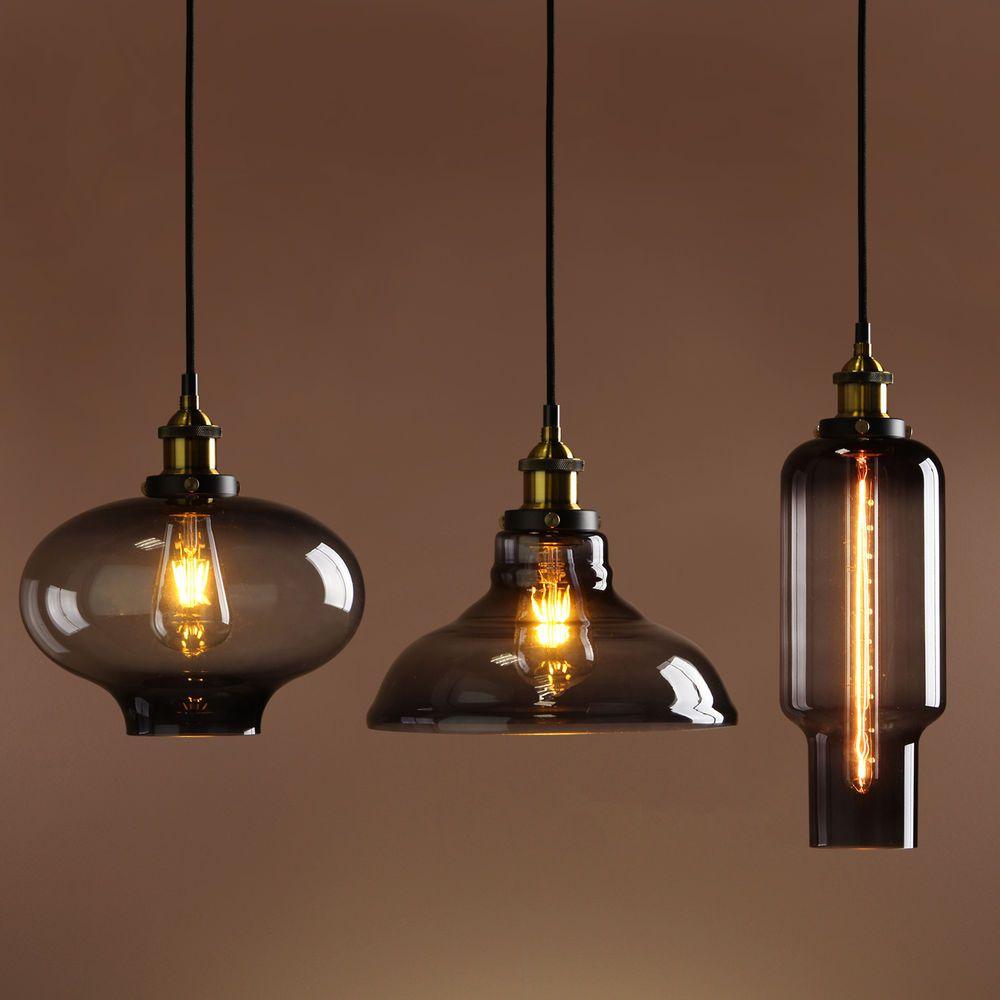 Retro vintage industrial smokey glass shade loft pendant