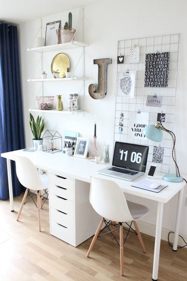 Organized Productivity-Boosting Study Room Ideas Living Room - computer desk in living room