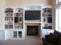 fireplace with hearth center bookcases on sides ...