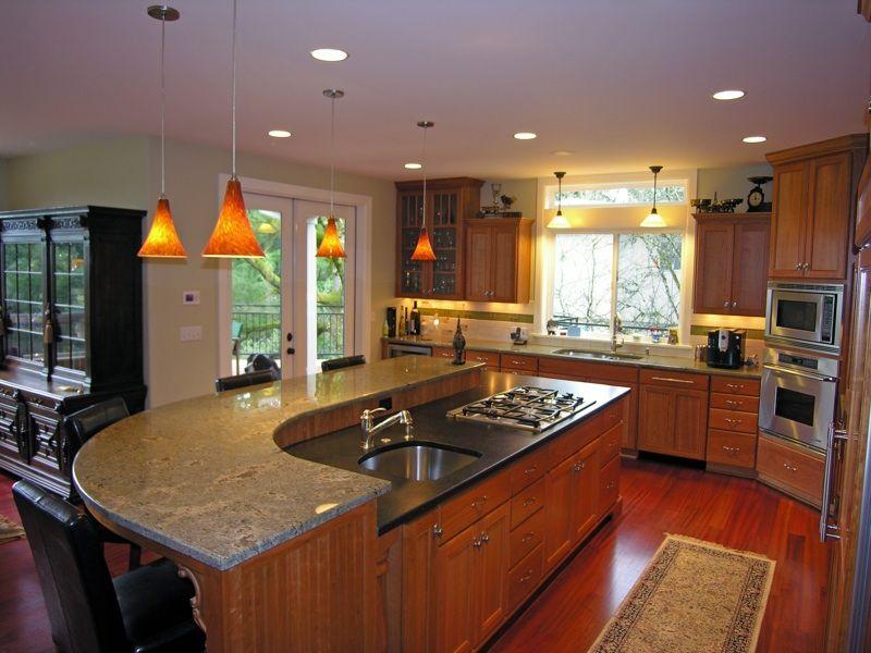Island w/Two Different Color Granite Countertops