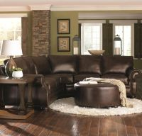 Chocolate Brown Leather Sectional w/ Round Ottoman