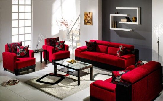 pictures of grey and red rooms red stylish sofa 1 Cozy Red - grey and red living room