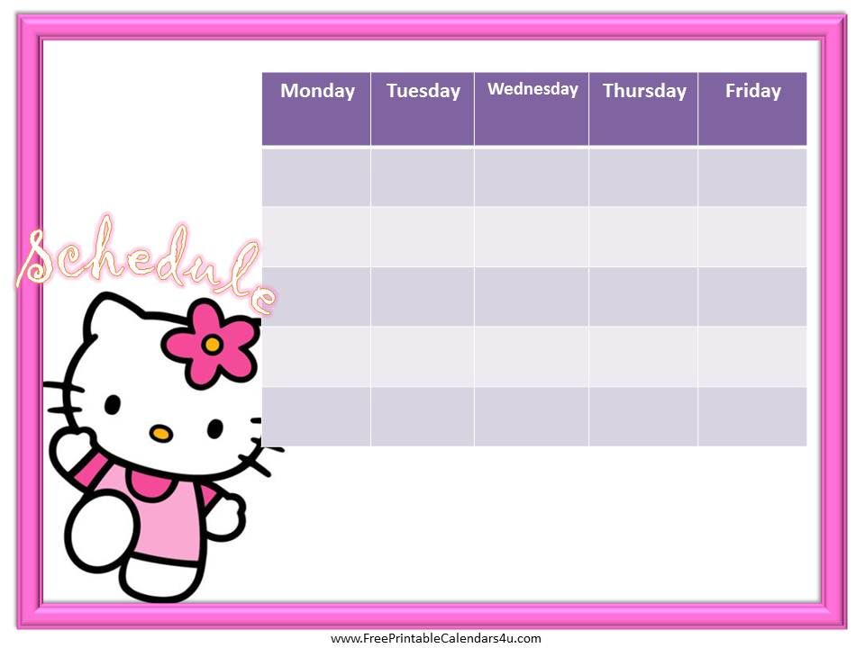 Hello Kitty weekly calendar template free Weekly Calendar for - free weekly calendar template