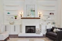 Fireplace mantel with built in cabinets living room ...