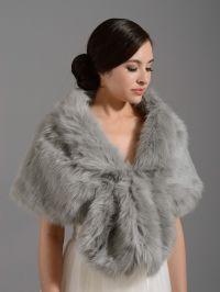 Silver wedding bridal faux fur wrap shrug stole shawl A001 ...