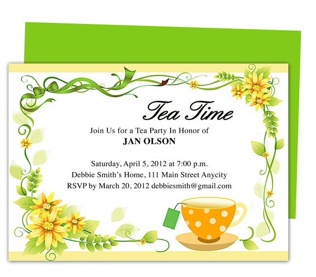 Freshness Tea Party Invitation Party Templates Printable DIY edit - party invitation templates word