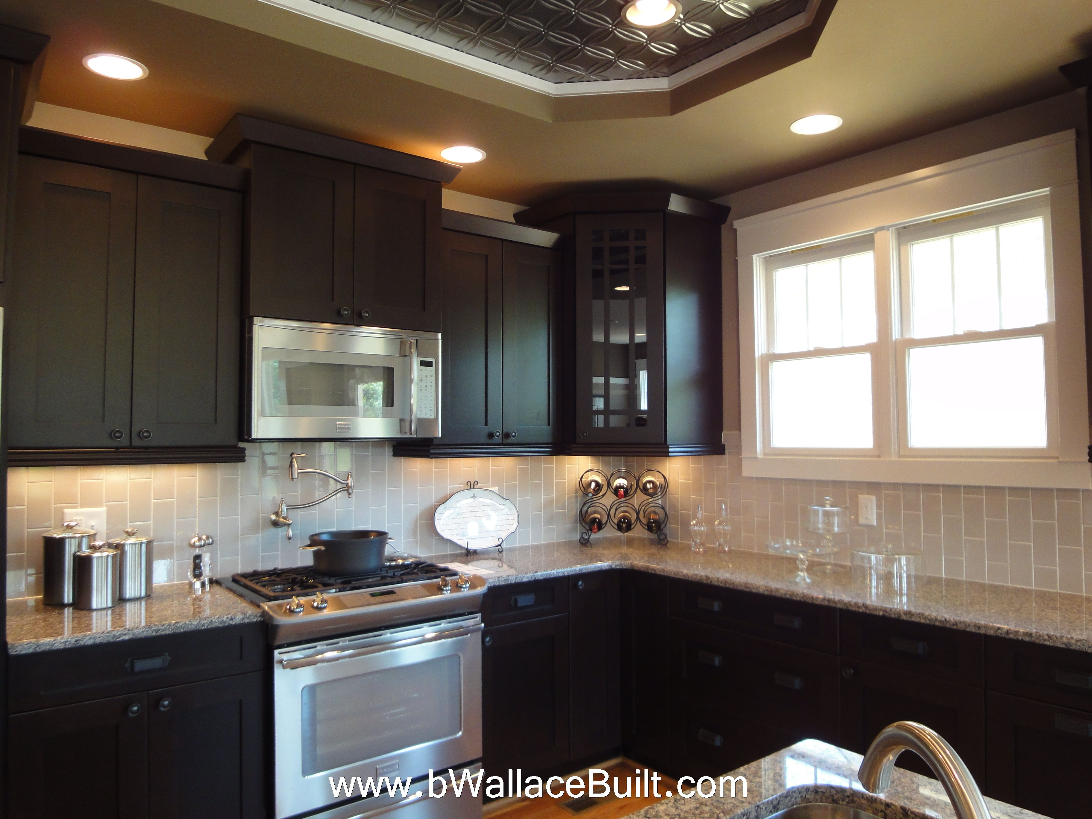 Dark Gray Backsplash Dark Cabinets Light Granite Countertops And Grey Vertical
