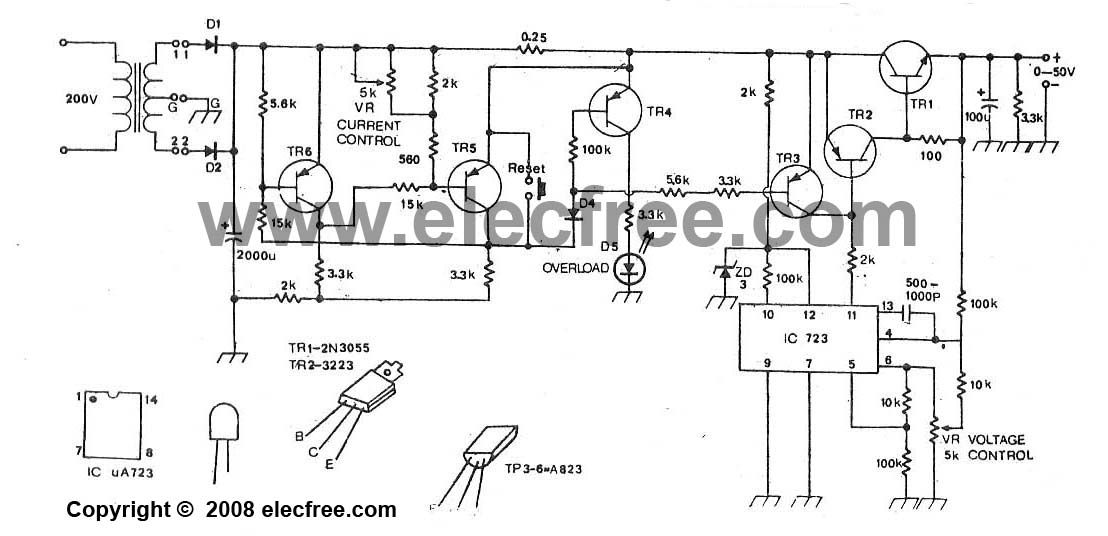 50v 3a regulated power supply circuit diagram