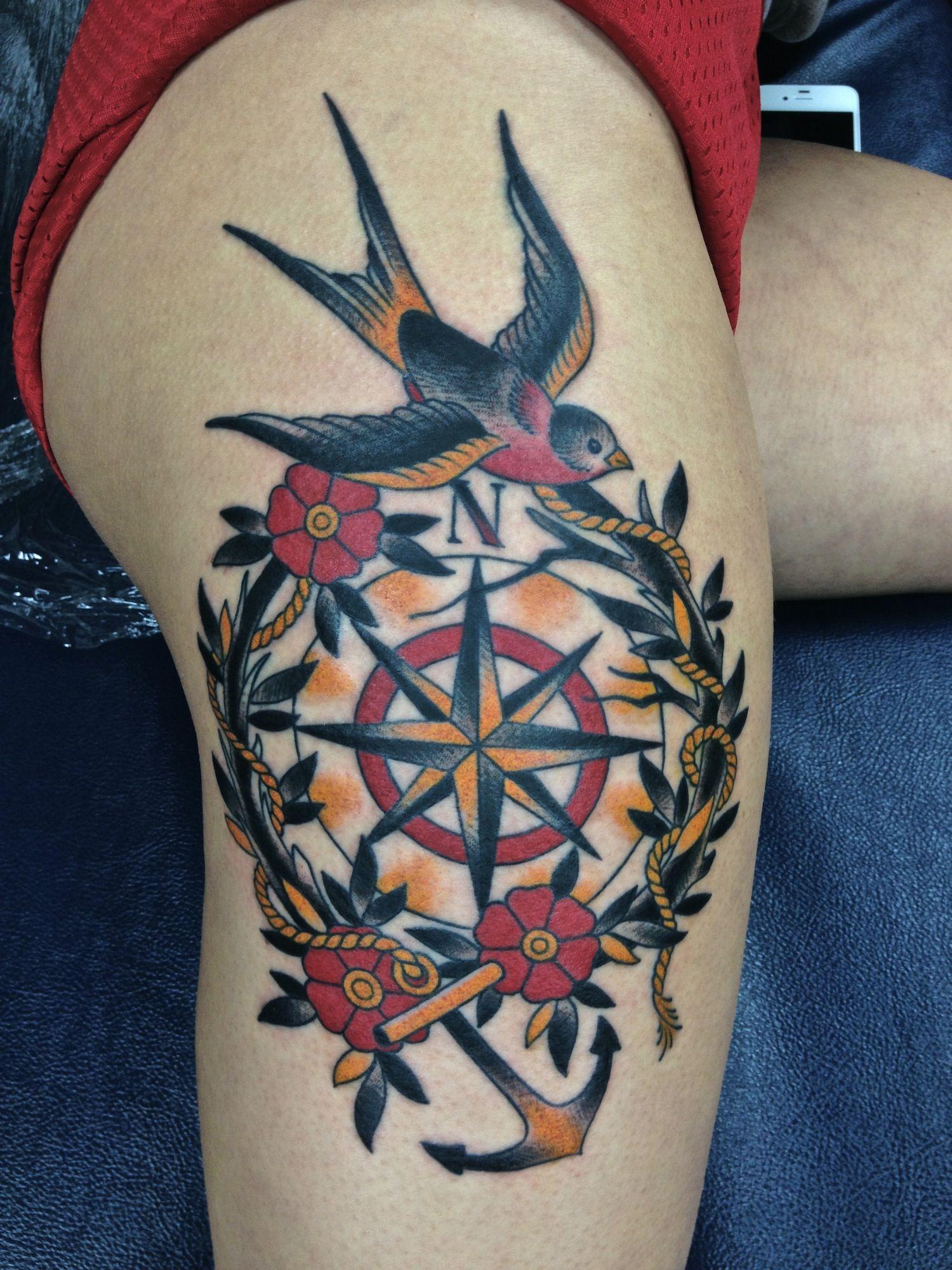 Compass tattoos design ideas for men and women