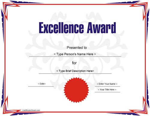 Education Certificate - Award Certificate Template for Excellece - school certificate templates