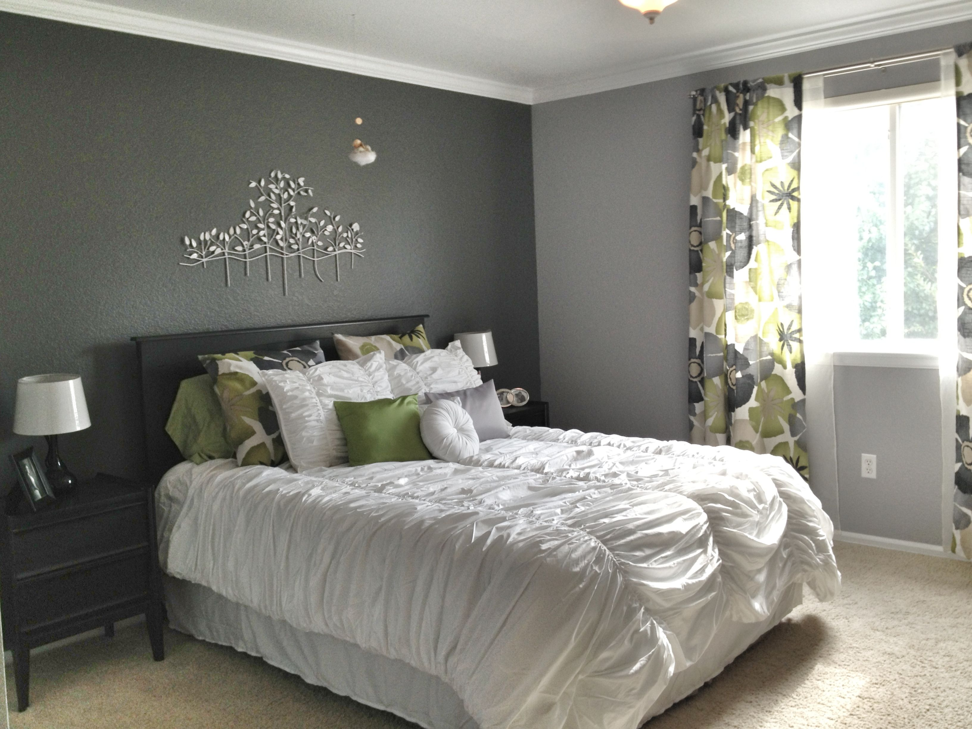 Bedroom Grey Walls Grey Master Bedroom Dark Accent Wall Fun Patterned