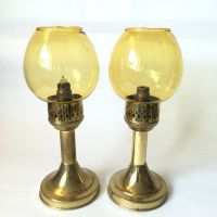 Candle Lamps With Amber Glass Shades, Brass Candlesticks ...