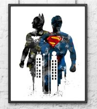 Batman vs Superman Watercolor Print, Batman Art, Superman ...