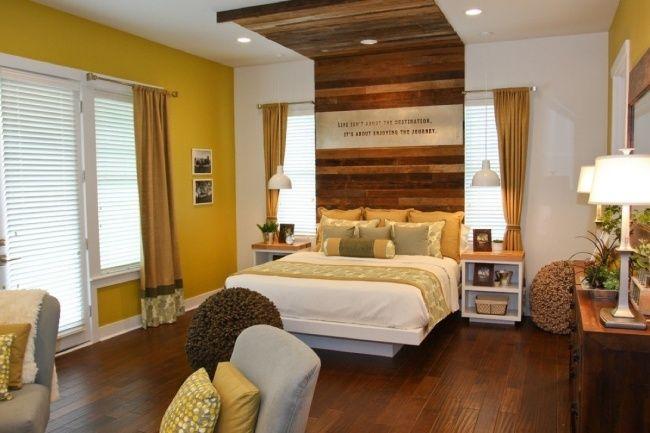 schlafzimmer gelb braun holz bett kompfteil wand ideen - schlafzimmer wandgestaltung braun