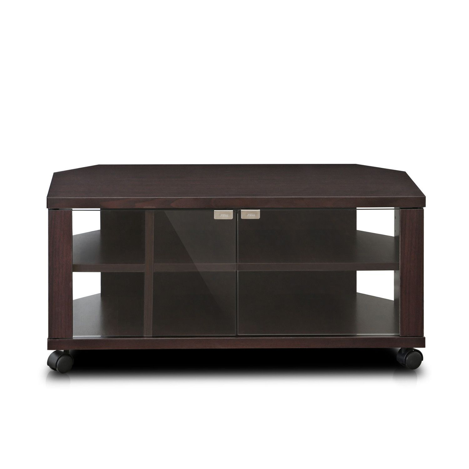 Tv Stand With Wheels Indo 2x2 Tv Stand With Double Glass Doors And Casters