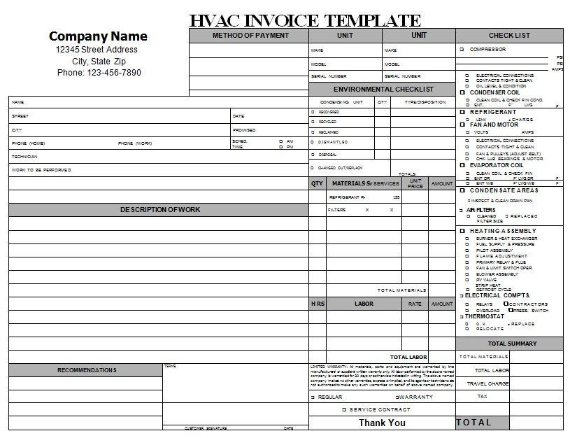 HVAC Repair Invoice Download HVAC Invoice Templates Pinterest - essential invoice elements