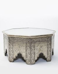 White Metal Moroccan Octagonal Coffee Table   orient ...