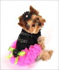 """Mommy's Angel"" Black Dress with Neon Pink Chiffon TuTu ..."